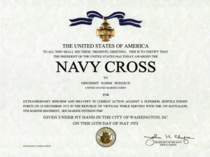 Navy Cross Certificate