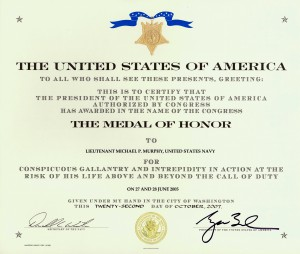 Medal of Honor Certificate